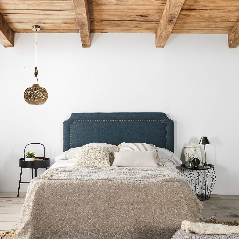 T/ête de lit tapiss/ée Leonor 140x60cm Bleu Clous en Marron /épaisseur Totale de 8 cm
