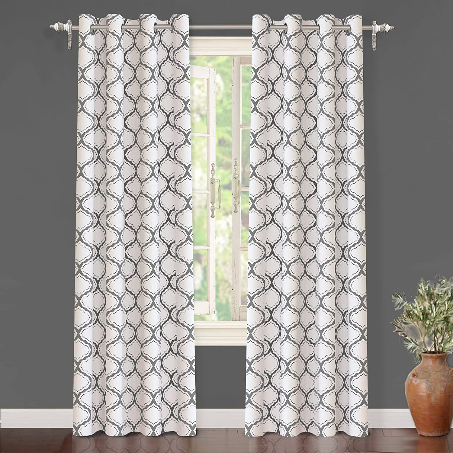 Amazon DriftAway Geometric Trellis Room Darkening Thermal Insulated Grommet Unlined Window Curtains Set Of Two Panels Each 52x84 Gray Home