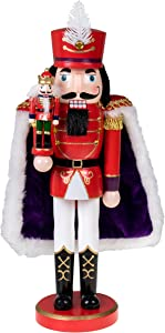 """Clever Creations Traditional Wooden Collectible Red Prince Christmas Nutcracker 