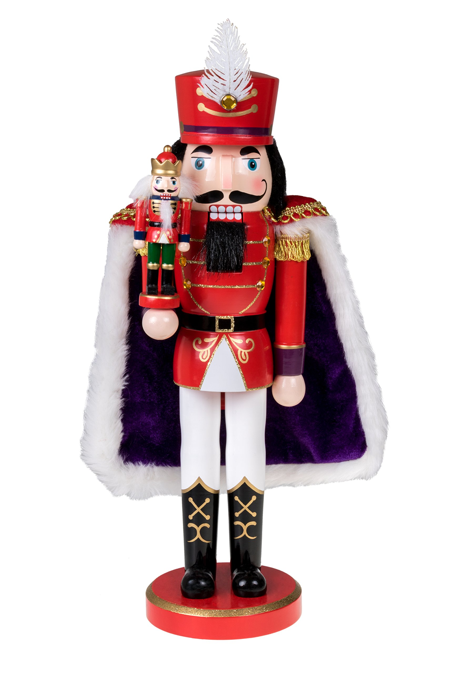 Clever Creations Red Prince Wooden Nutcracker Wearing Purple Cape Holding Toy Nutcracker Gift | Festive Decor | Perfect for Shelves and Tables | 100% Wood | 14'' Tall