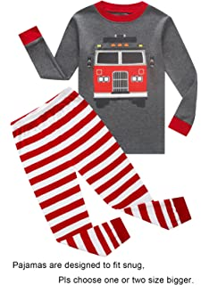 Fire Truck Little Boys Long Sleeve Pajamas 100% Cotton Clothes Size 7