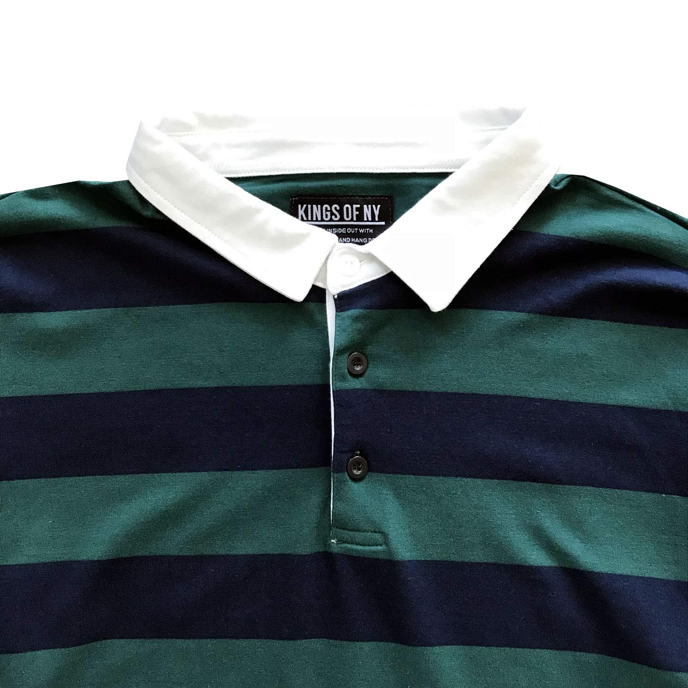04debb508f Kings Of NY Striped Color Block Mens Long Sleeve Polo Rugby Shirt at Amazon  Men's Clothing store: