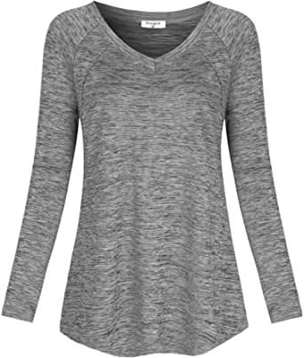 Soogus Women's Long Sleeve Yoga Tops V Neck Workout Shirts Athletic Wear