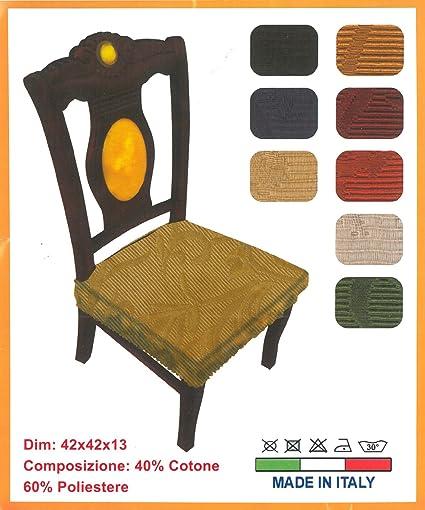 fb7c6d4187 Coppia Cuscini Coprisedie con cerniera in tessuto bielastico - tinta unita  colore a scelta: Amazon.it: Casa e cucina