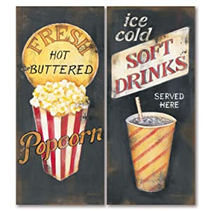 The Studio Resource, Inc. Movie Night! Old-Fashioned Cinema Fresh Hot Buttered Popcorn and Ice Cold Soft Drinks Refreshment Panel Prints; 2-8x18in Unframed Paper Posters