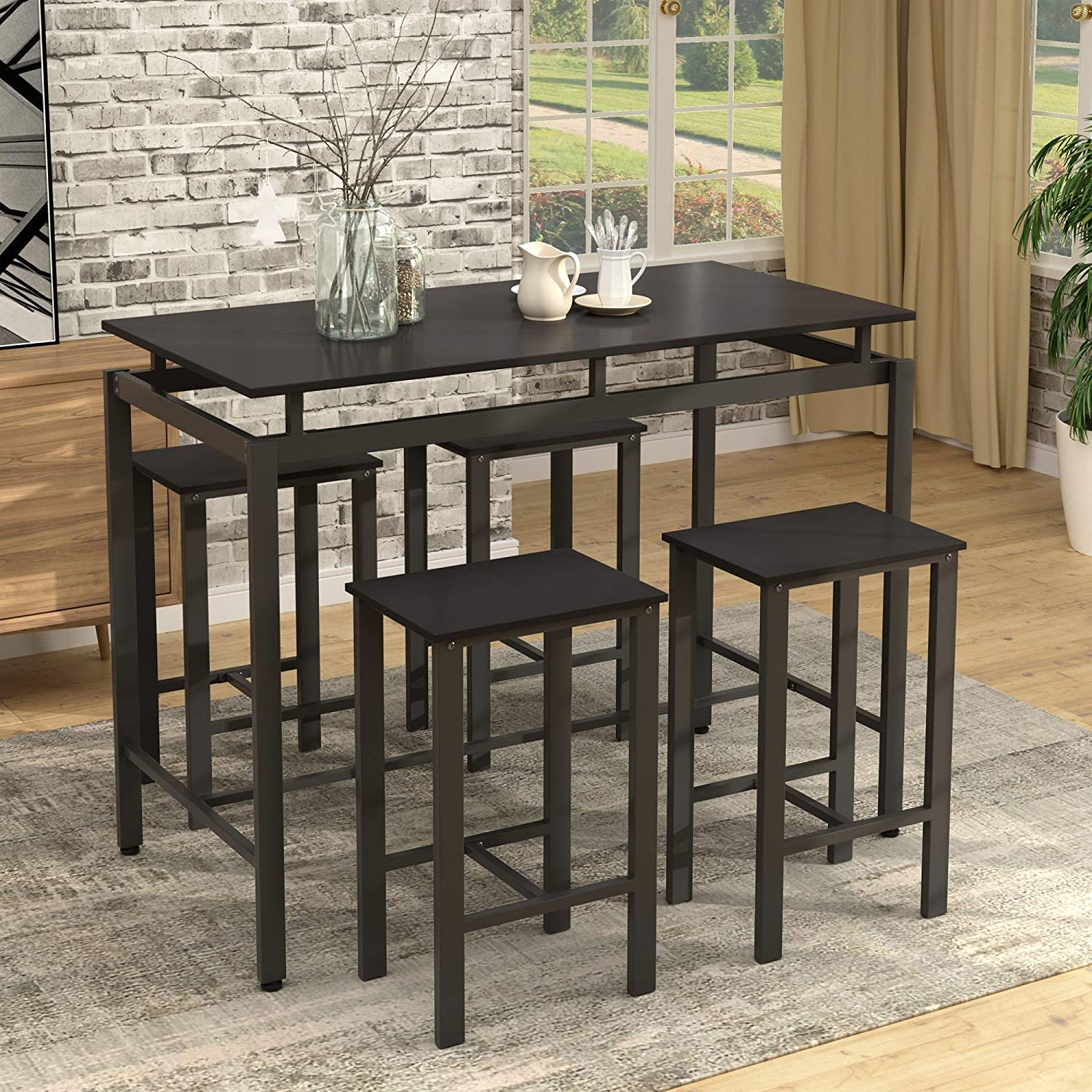 Danxee 5-Piece Kitchen Counter Height Pub Dining Table Set, High Breakfast Table with 4 Chairs for Dining Area (Espresso)