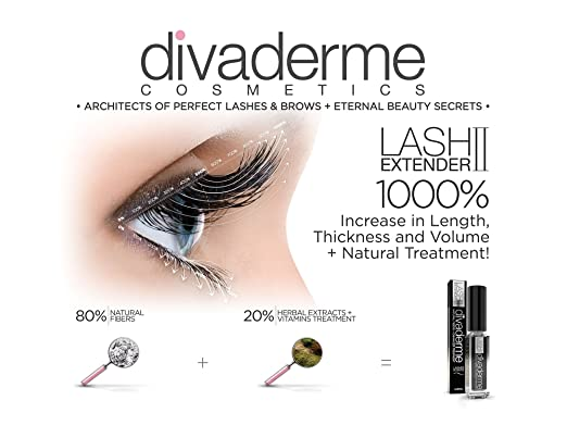 c0b99e23167 Amazon.com: Divaderme Lash Extender II - 100% Natural Eyelash Fibers +  Enhancer Treatment - Increases Your Lashes By 1000% - Made in USA (1 Pack):  Beauty