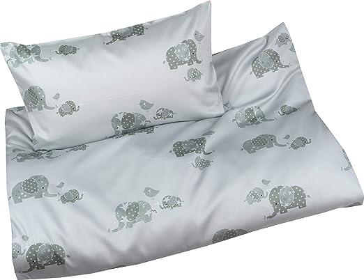 Bettwäsche Kinder Mako Satin.Mako Satin Kinder Bettwasche Set Elefanten Grau 135x200 80x80