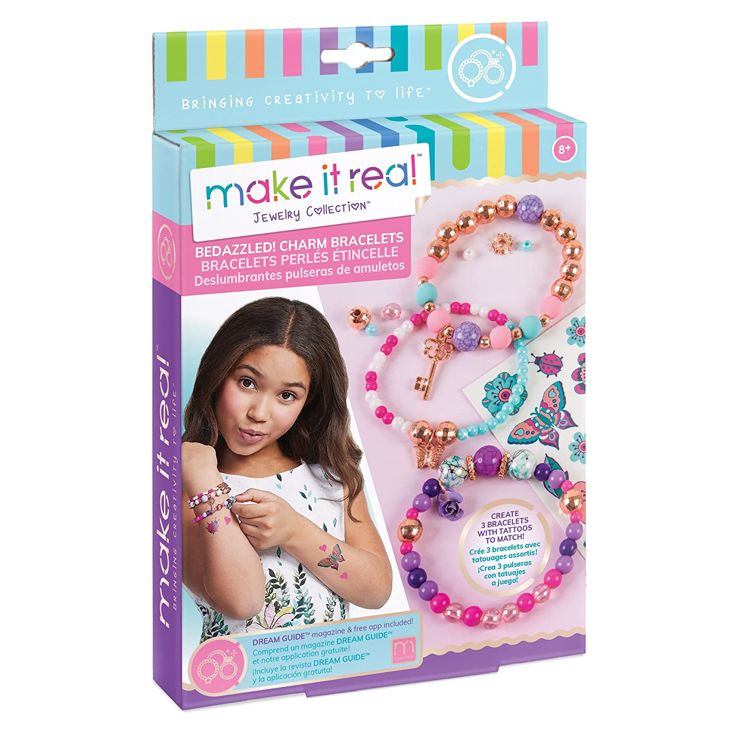 Make It Real - Bedazzled! Charm Bracelets - Blooming Creativity. DIY Charm Bracelet Making Kit for Girls. Arts and Crafts Kit to Create Unique Tween Bracelets with Beads, Charms and Tattoo Stickers