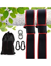 Tree Swing Straps(5FT),2 Sets Heavy Duty Straps Carabiners +Swivel/Spinner-Holds 2200lbs-Swing & Hammock Ropes Hangers to Hang Tire,Saucer,Web Swing/Toddler Swing-Safe &Easy Hanging Kit