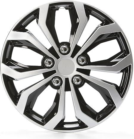 Cartrend 75569 Daytona Universal Radzierblenden In Schwarz Silber Für 16 Zoll Räder 4 Radkappen Aus Robustem Kunststoff Auto