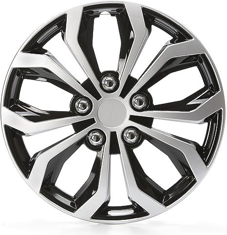 Cartrend 75568 Daytona Universal Radzierblenden In Schwarz Silber Für 15 Zoll Räder 4 Radkappen Aus Robustem Kunststoff Auto