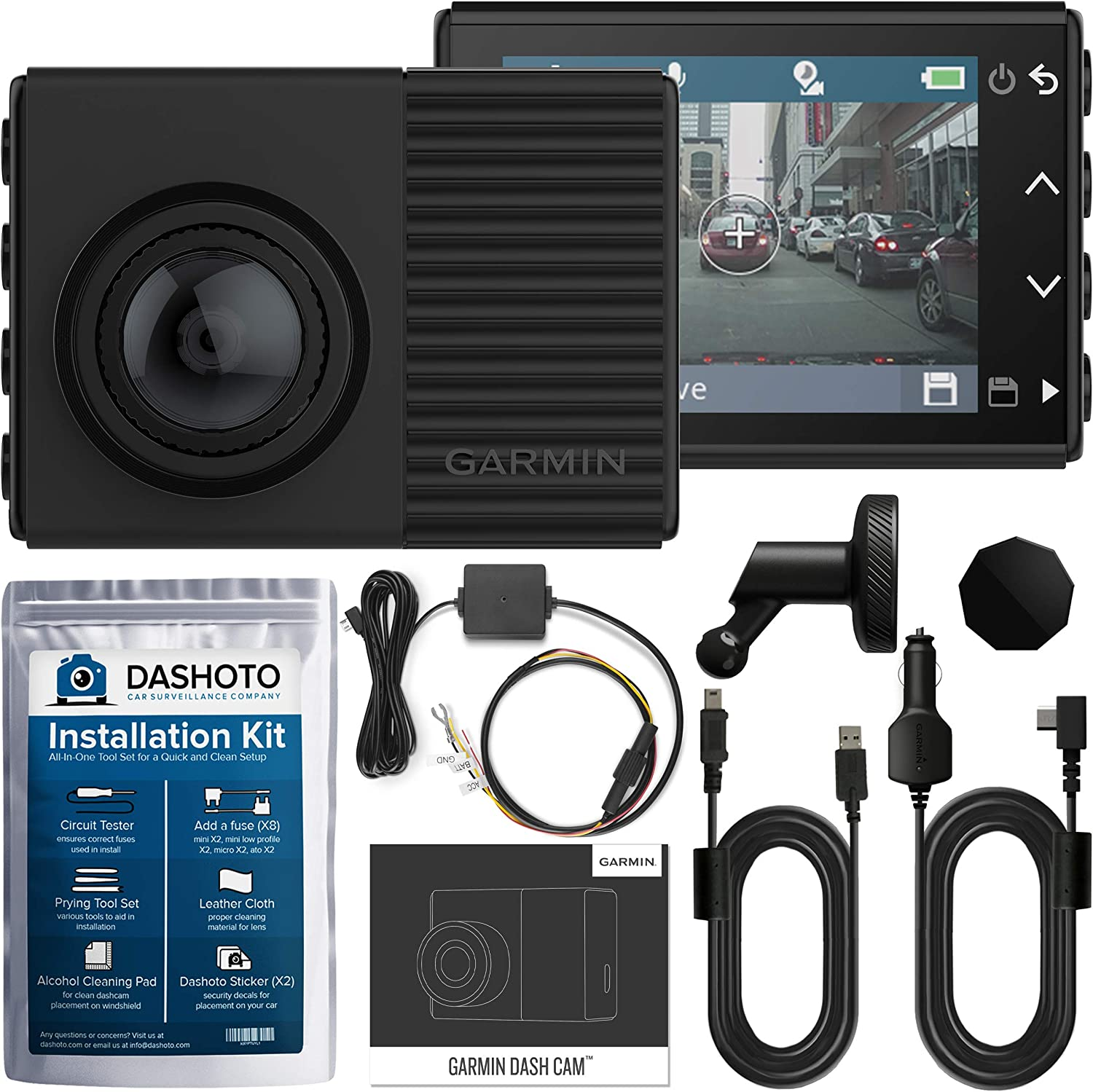 Garmin Dash Cam 66W, 1440P Ultra-Wide HDR Recording, 180 Degree Viewing Angle, WiFi, GPS and Voice Control with Parking Mode Cable and Installation Kit Included (New 2020)