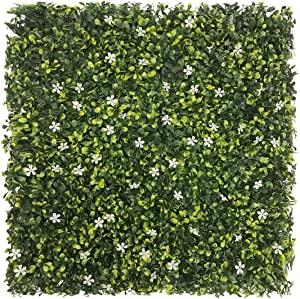"""FLORALEAFArtificial Boxwood Panels Topiary Hedge Plant UV Protected Privacy Ivy ScreenFaux Greenery Wall Décor Outdoor Indoor Use Backyard Garden Decoration 20""""x20"""" Jasmine Flower 6 Pieces"""