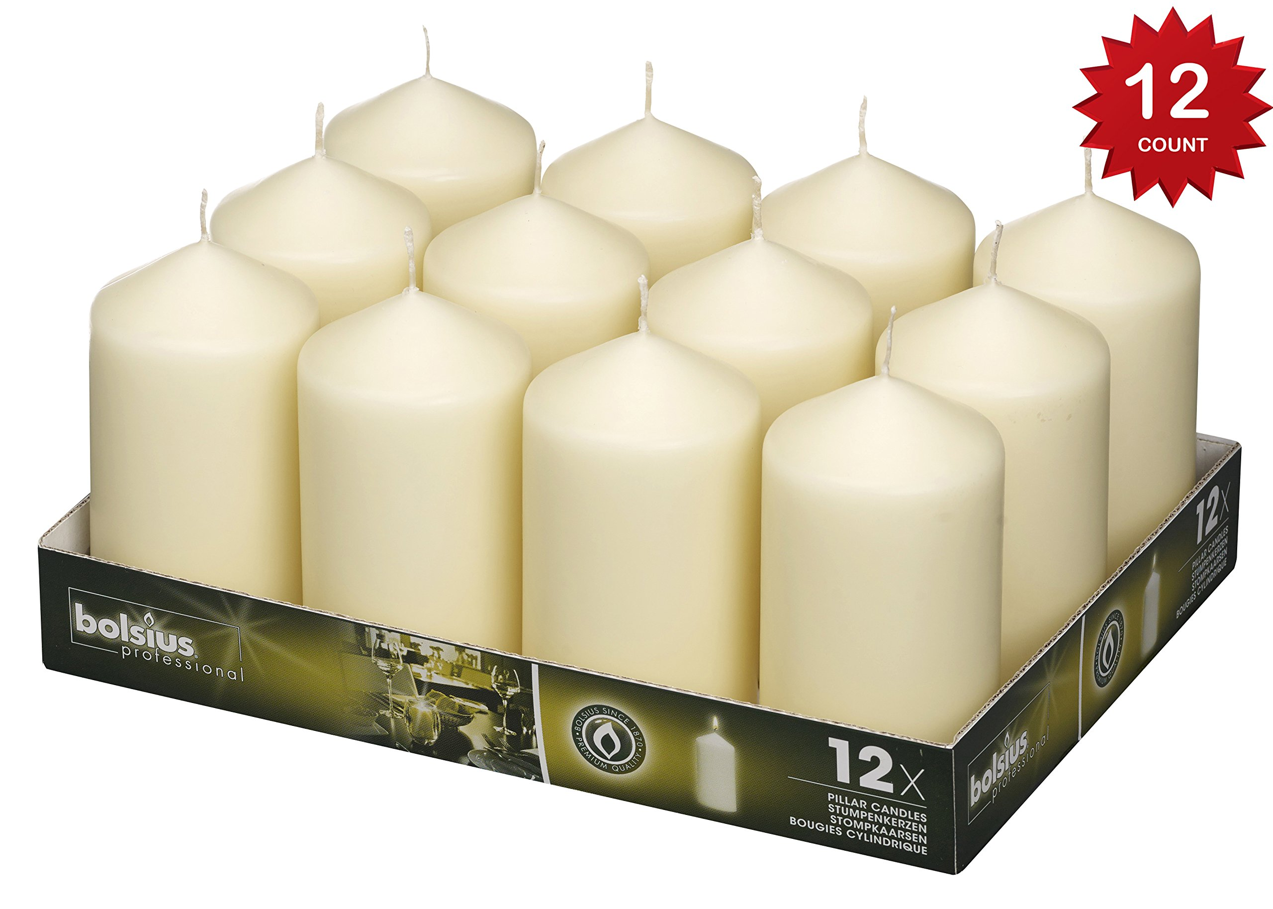 Bolsius Pillar Candles Ivory Tray 12 / 128 x 68 mm ( aprox 2.7x5 inch)