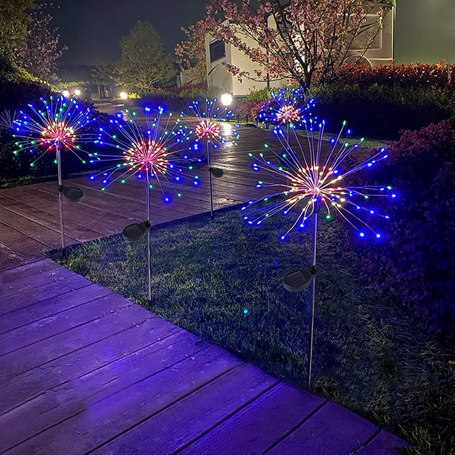 2 Pack Outdoor Home Decor Solar Powered Flowers Firework Lights, Waterproof DIY 40 Copper Wire Dimmable Auto ON-Off 120 LED Lights for Garden Patio Yard Pathway Lawn Party (Multi)