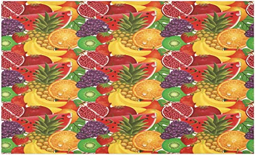 Ambesonne Colorful Doormat, Exotic Tropical Fresh Ripe Juicy Fruits Pineapple Berries Watermelon Grape Orange, Decorative Polyester Floor Mat with Non-Skid Backing, 30 X 18 , Scarlet