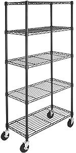 AmazonBasics 5-Shelf Shelving Unit on 4in Casters, Black (Renewed)
