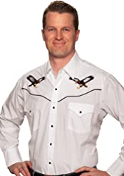 0642dd92d88 ELY CATTLEMAN Long Sleeve Men s Eagle Embroidery White Snap Western Shirt