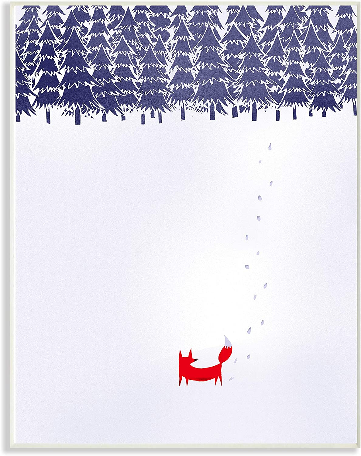 Stupell Industries The Stupell Home Decor Minimal Red Fox in The Snow Blue Pine Forest Wall Plaque Art, 10 x 15, Proudly Made in USA 13 x 19