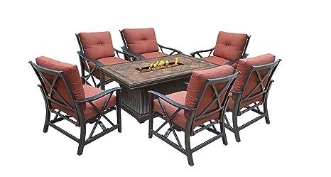 Oakland Living Viena Gas Chat con estufa juego de mesa, bronce antiguo