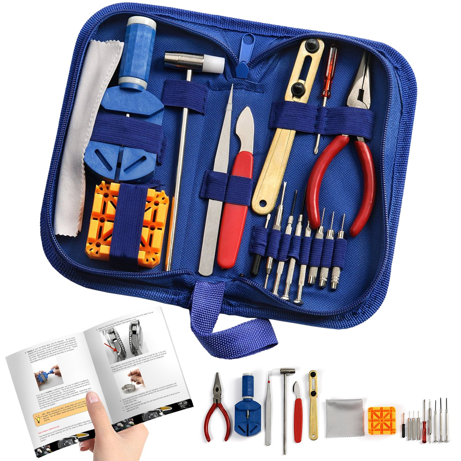 Watch Repair Kit Professional - Complete Tool Set with Watchmaker's and Jewelers ''Maintenance & Service'' User Manual - Storage Case - Microfibre Cleaning Towel (16 Pieces) by The Kit Shop