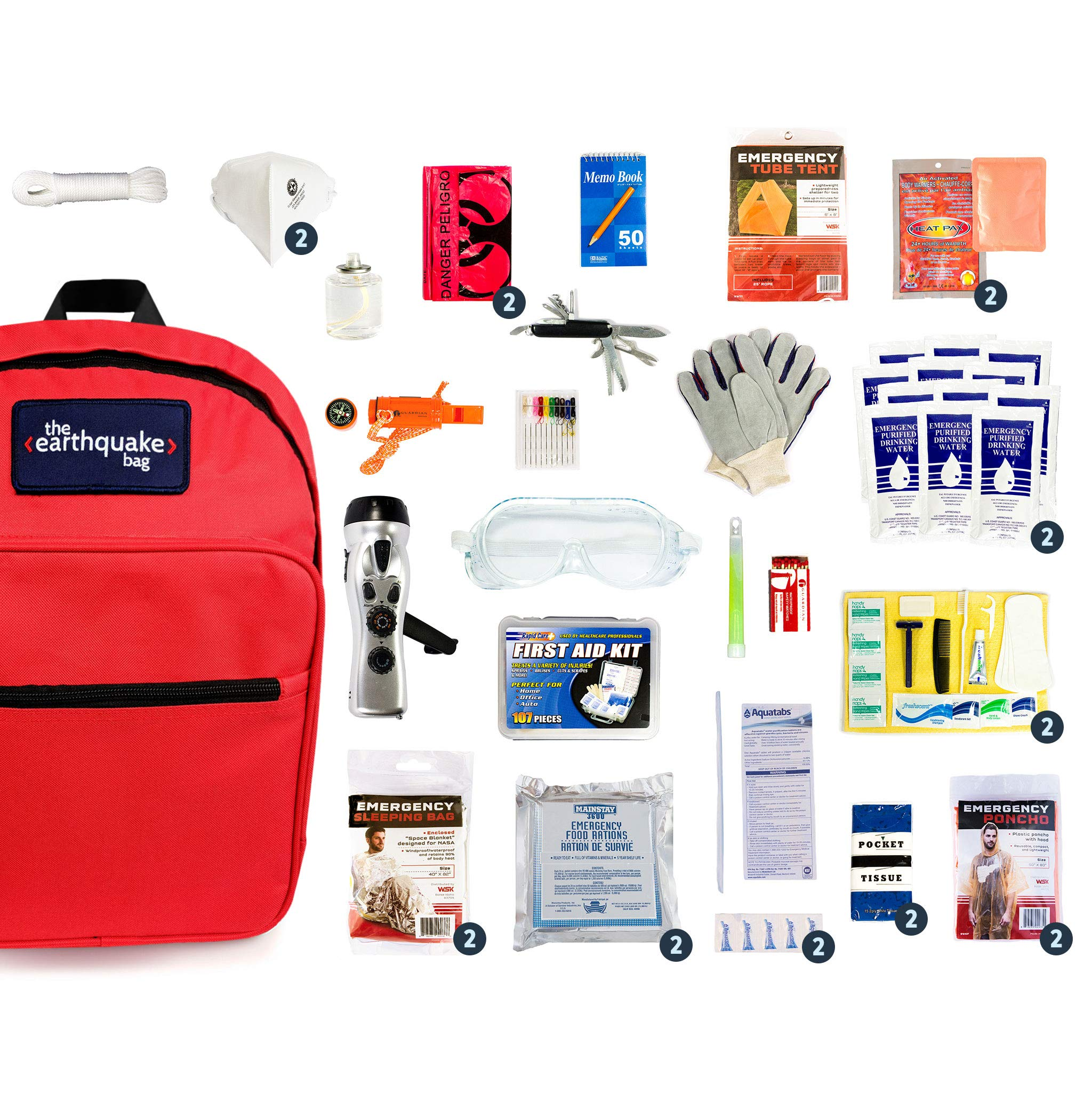Complete Earthquake Bag - Emergency kit for earthquakes, hurricanes, floods + other disasters (2 person, 3 days) by Redfora