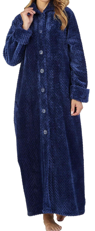 Slenderella dames 46 ou 117cm Long luxe 260GSM doux gaufre /épaisse toison collier bouton vers le haut de bain Robe Robe maison Coat taille petit moyen grand XL /& XXL