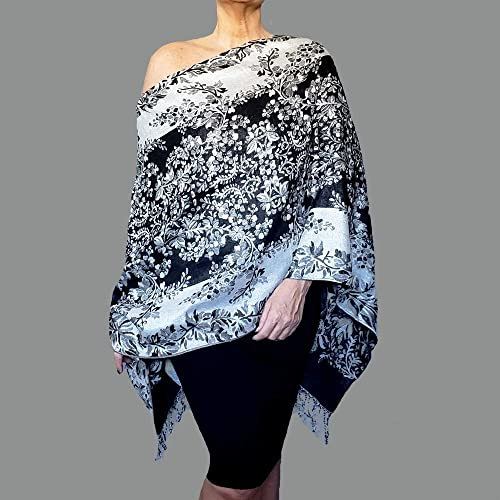 amazon metallic silver shawl black and white wrap floral Silver Evening Shawls and Wraps metallic silver shawl black and white wrap floral evening wear by ziici