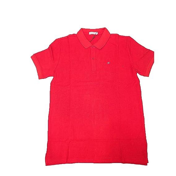 Calvin Klein- Essential Pique Regular Polo Logo Rojo - NIÑO ...