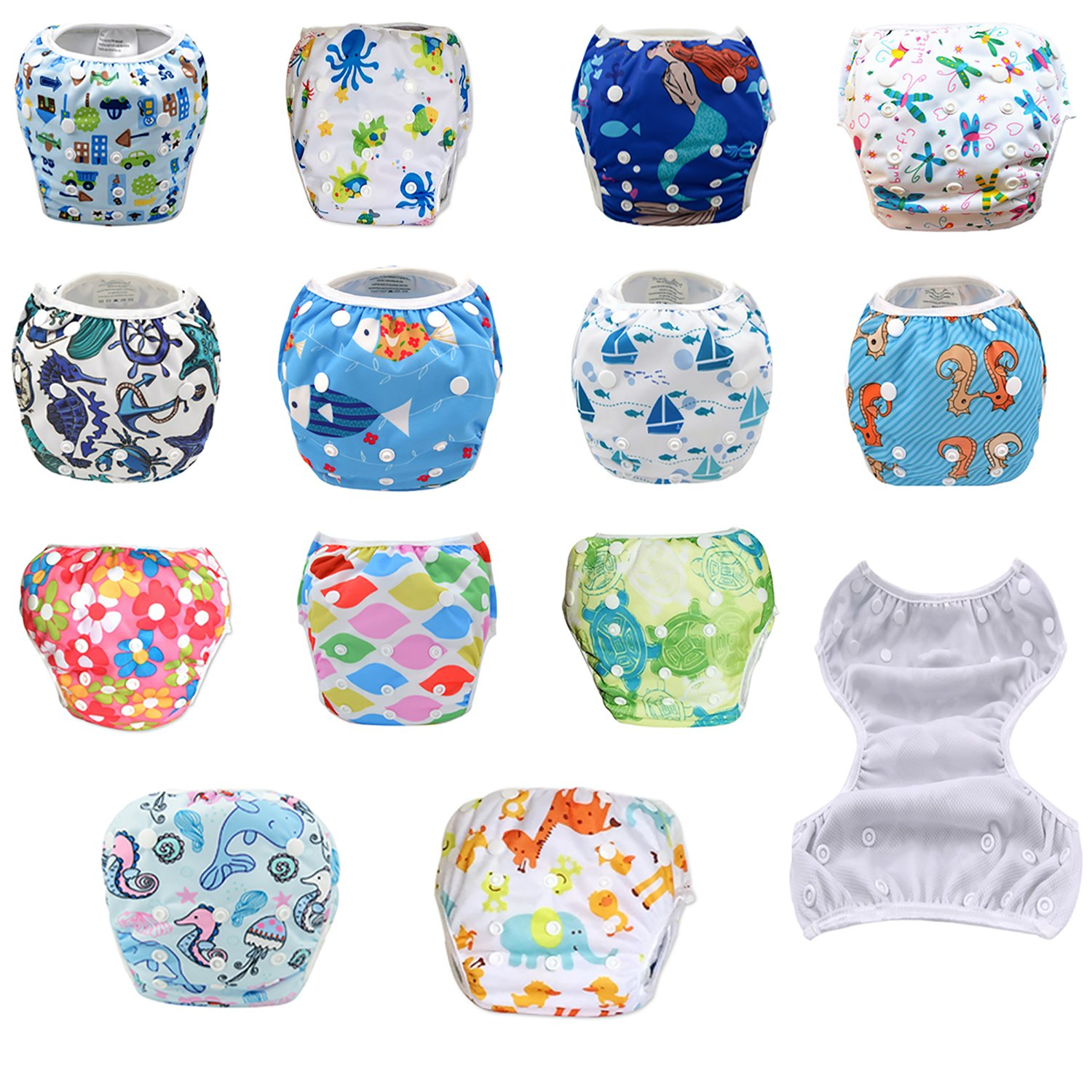 Animals Leakproof Washable Reusable Swim Diapers for Kids 0 to 2 Years