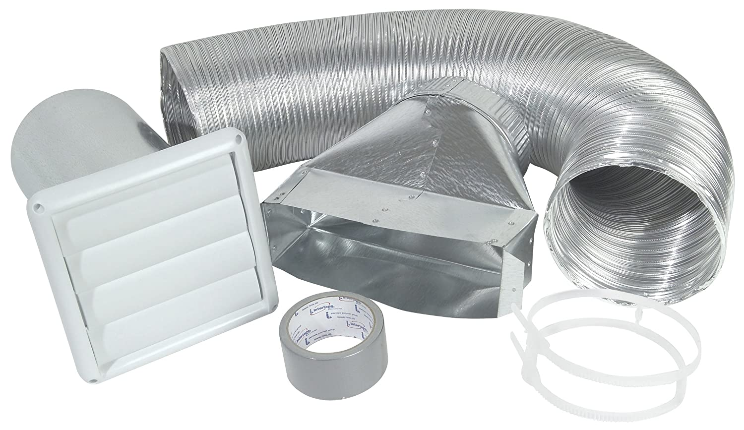 White Imperial 4 x 8-Foot Louvered Vent with Flexible Aluminum Ducting Dryer Vent Kit VT0271-A Imperial Manufacturing