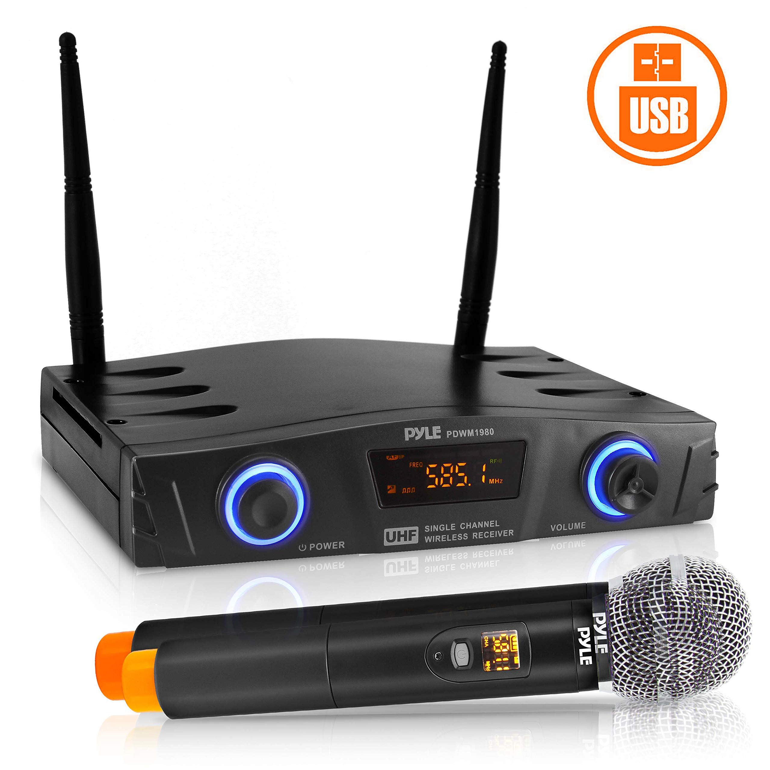 Compact UHF Wireless Microphone System - Pro Portable 1 Channel Desktop Digital Mic Receiver Set w/ 1 Handheld Mic, Receiver Base, USB Cable, Battery, XLR, for Home, PA, Karaoke, DJ - Pyle PDWM1980 by Pyle