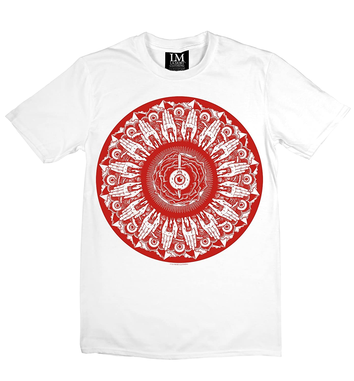 La Mort Clothing Eye of Mandala T Shirt Red Print on White. Sizes Small - 2X-Large