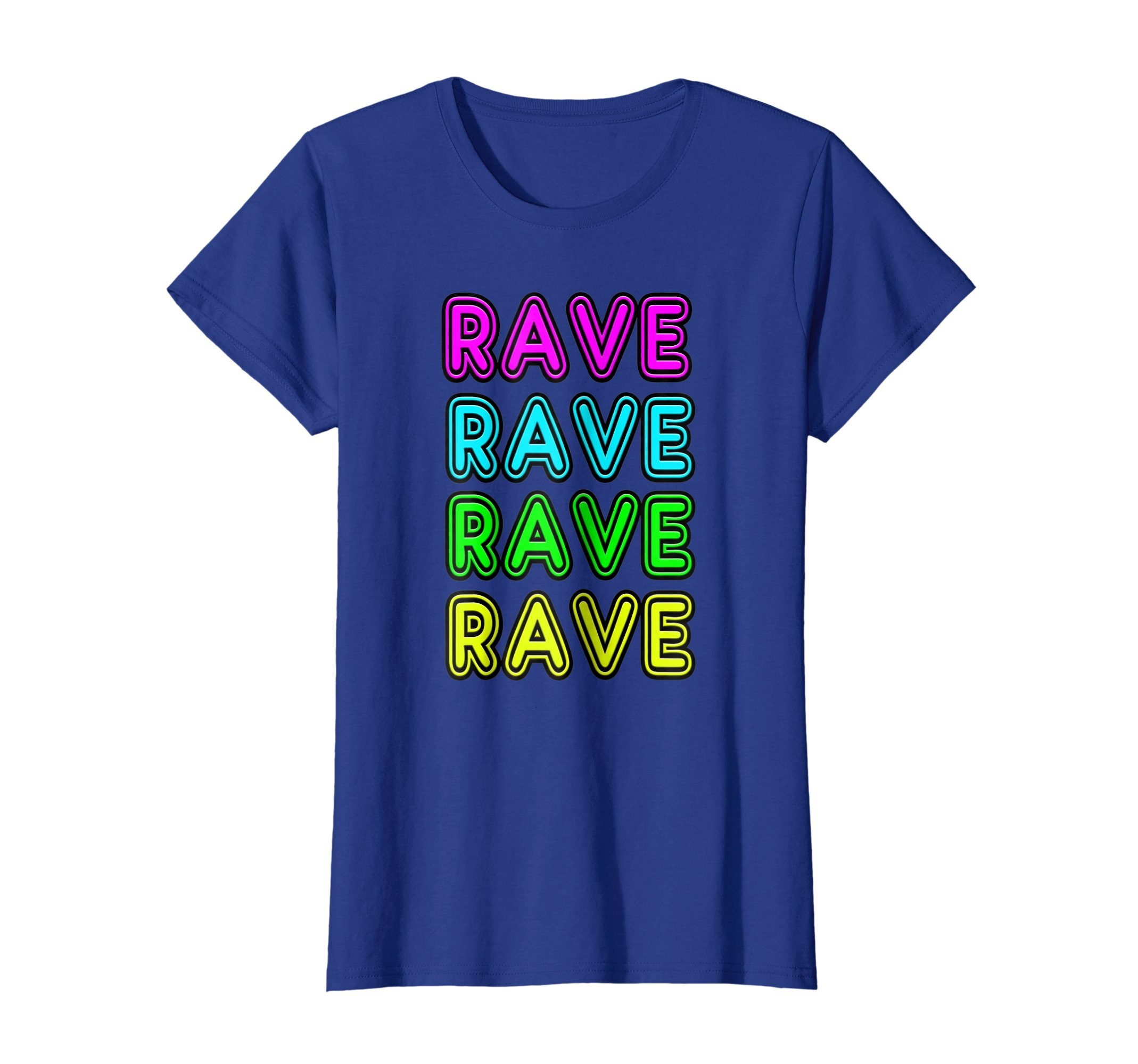 Womens Neon Sign Style RAVE EDM, Trap, Dubstep, Raver Gift T-Shirt XL Royal Blue