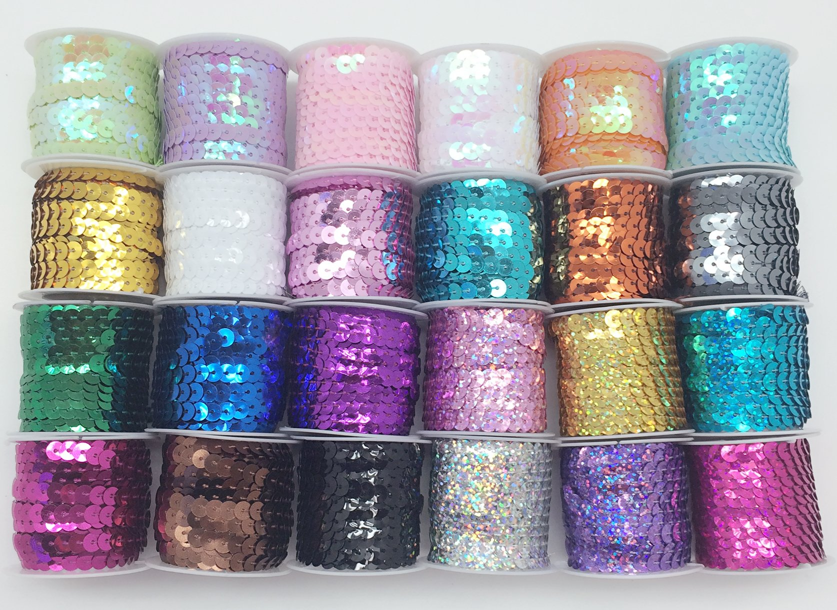 PEPPERLONELY Brand 24 Rolls Mixed 24 Colors Flat Sequin Trim, 6mm(1/4 Inch) by PEPPERLONELY