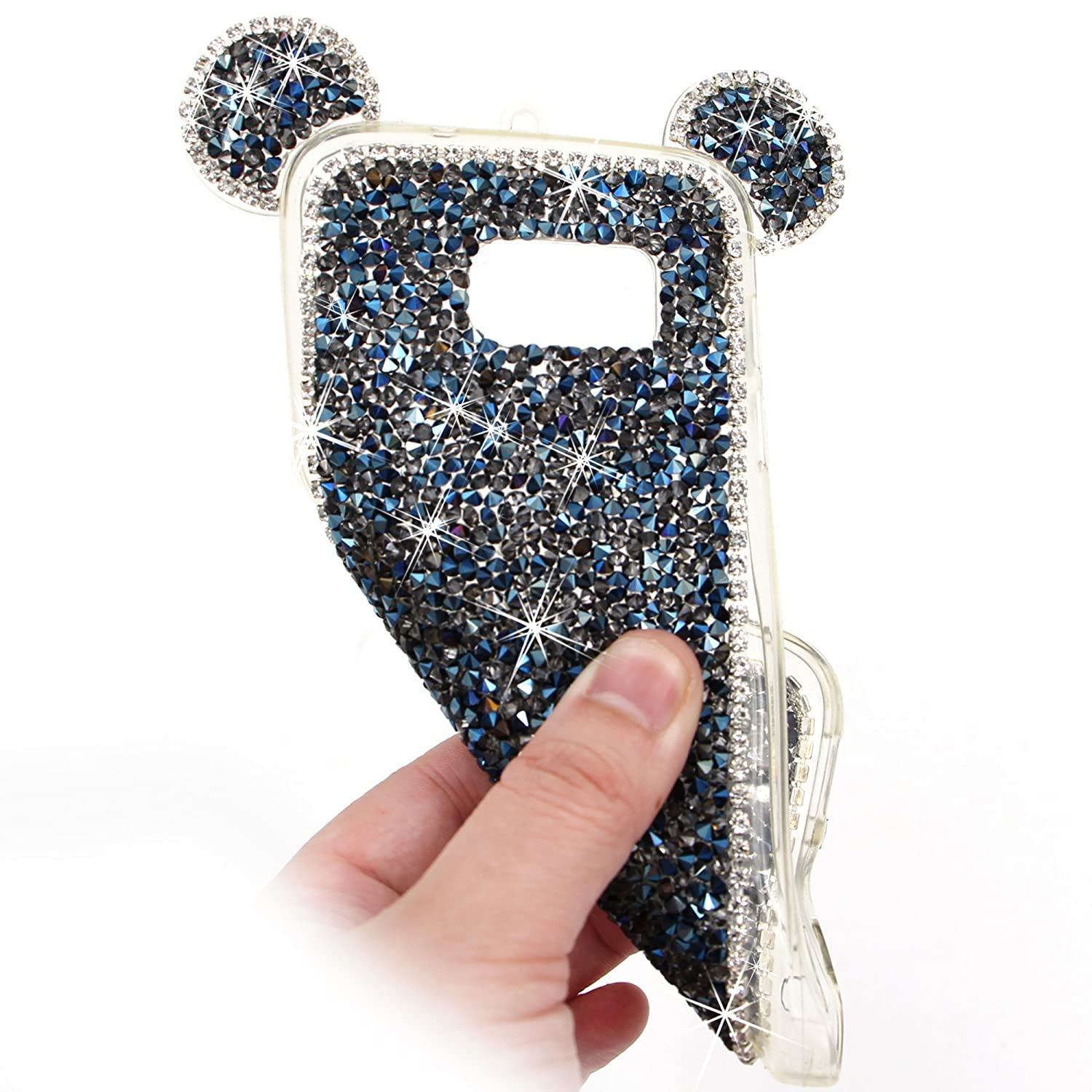 Bling Diamond 3D Case for Samsung Galaxy S8, Girlyard Mouse Ears Case Glitter Rhinestone Soft Silicone TPU Premium Cartoon Back Cover with Neck Strap Lanyard-- White