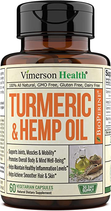 Turmeric Curcumin with Hemp Oil Powder and BioPerine Supplement. Joint Discomfort Relief, Balanced Inflammation. Stress, Sleep & Mood Support with Curcuminoids and Black Pepper 60 Vegetarian Capsules