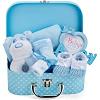 Baby Gift Set in Blue - Baby Boy Hamper with Gifts Including a Rattle, Photo Frame, Muslin Cloth, Bib, Socks, Mitts and…