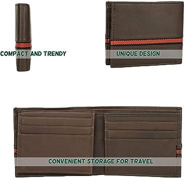 Men/'s Brown Genuine Leather Bi-Fold Credit Card ID Wallet New