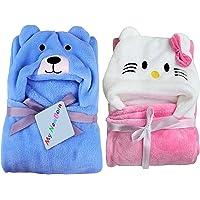 My NewBorn Ultra Soft Baby Blanket Wrapper (Set of 2, Pink Katty/Sky Puppy)