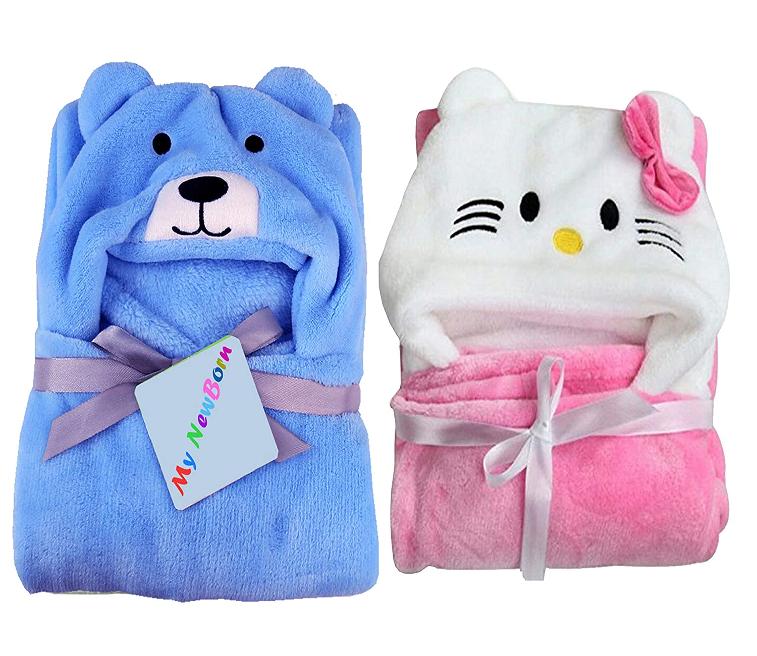 My NewBorn Ultra Soft Baby Blanket Wrapper (Set of 2, Pink Katty/Sky Puppy)