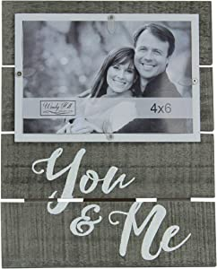 Windy Hill Collection 4 x 6 You & Me Horizontal Wall or Table Top Picture Photograph Frame Made of Real Wood Slats 694001