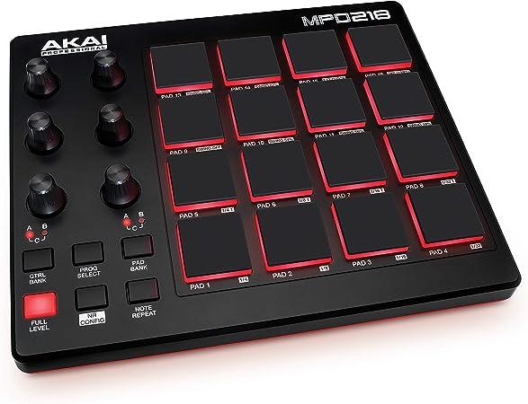 AKAI Professional MPD218 - Controlador de pads MIDI USB portátil con 16 pads MPC y 6 potenciómetros asignables para DAW, botones Note Repeat y Full ...