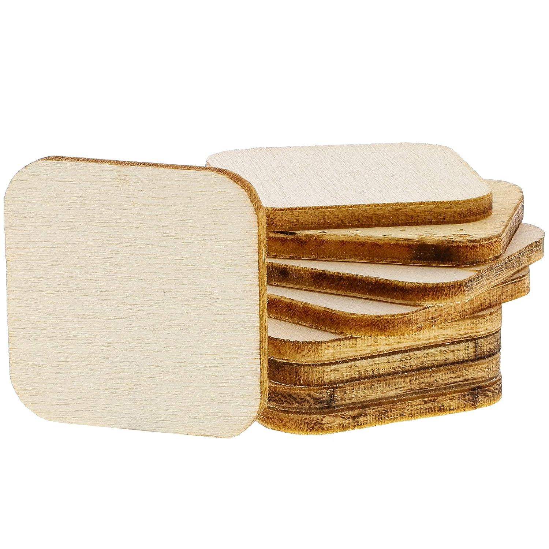 per fai da te 200-pack Square Tile Wood Cutouts Sagoma rettangolare in legno grezzo Bright Creations