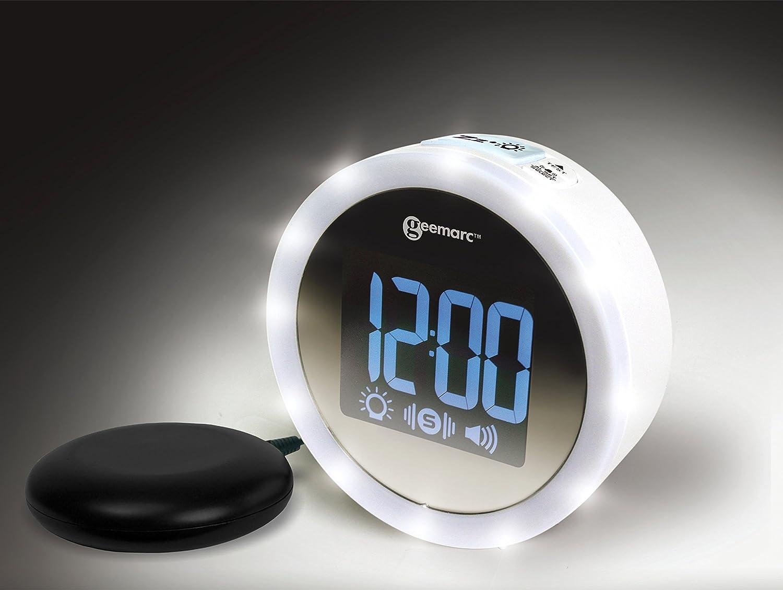'Geemarc Telecom S.A jwns de de Star WH VDE Wake' n Shake Star–Elegante vibración Reloj Despertador, Color Blanco