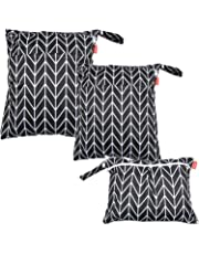 Damero 3pcs Wet and Dry Cloth Diaper Bag, Travel Packing Organizer with Handle for Cloth Diaper, Pumping Parts, Clothes and More, Easy to Grab and Go, Black Arrow