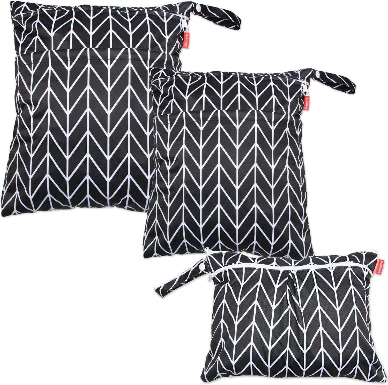 Damero (3 piezas) Bolsa de organizador de pañales de viaje con asa Flecha negra