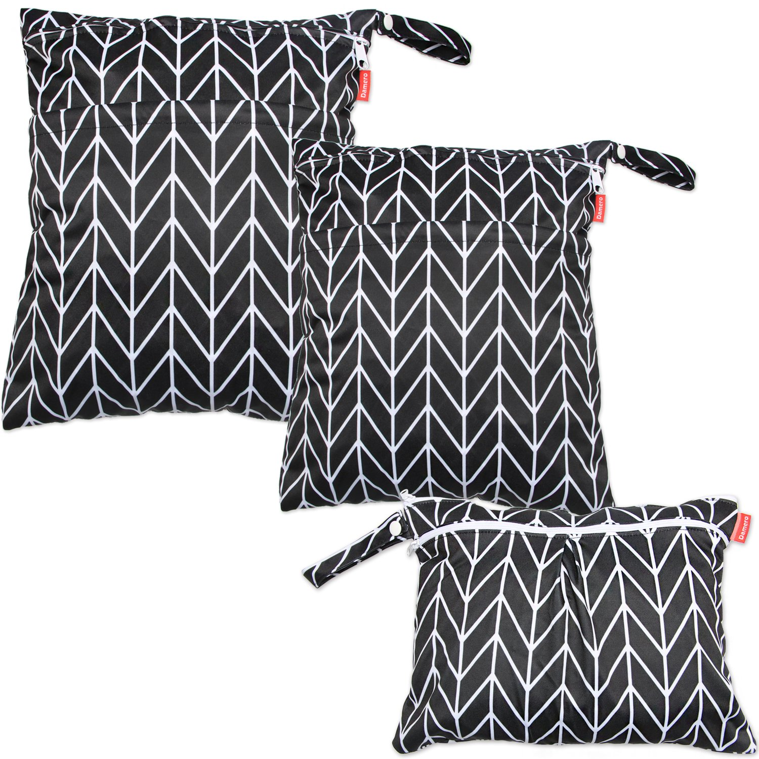 Damero 3pcs Travel Wet and Dry Bag with Handle for Cloth Diaper, Pumping Parts, Clothes, Swimsuit and More, Easy to Grab and Go, Black Arrows by Damero