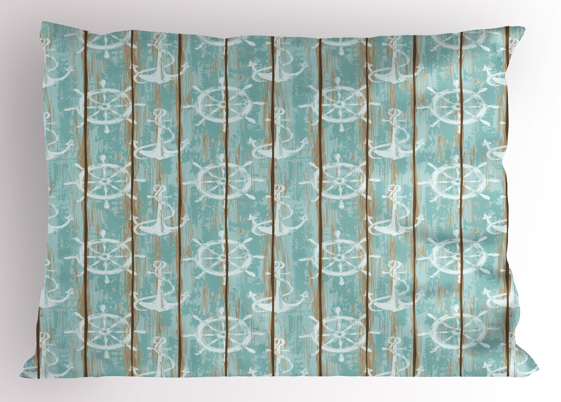 Ambesonne Nautical Pillow Sham, Marine Elements Drawn on Old Wood Surface Helm Anchor Ornamental Print, Decorative Standard Size Printed Pillowcase, 26 X 20 inches, Turquoise Cocoa White